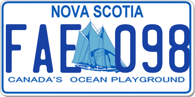 NS license plate FAE098