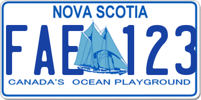 NS license plate FAE123