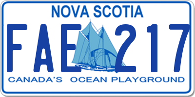 NS license plate FAE217