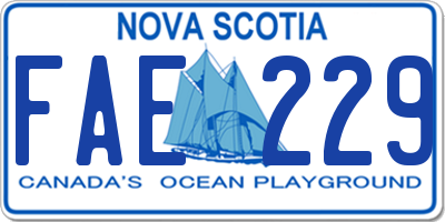 NS license plate FAE229