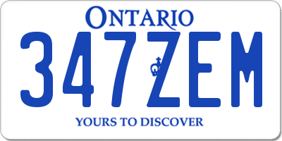 ON license plate 347ZEM