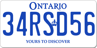 ON license plate 34RSD56