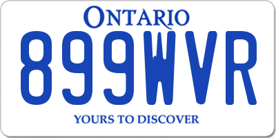 ON license plate 899WVR
