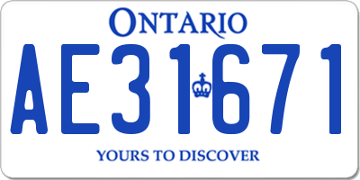 ON license plate AE31671