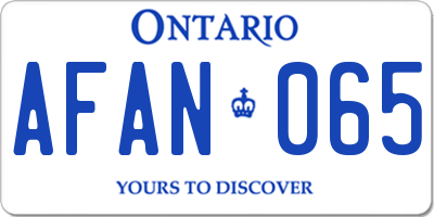 ON license plate AFAN065