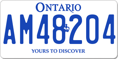 ON license plate AM48204