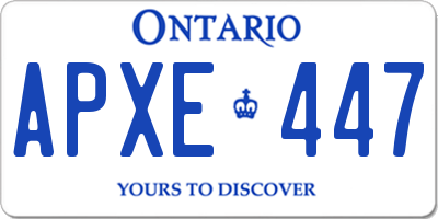 ON license plate APXE447