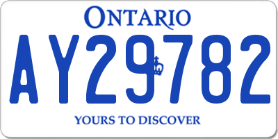 ON license plate AY29782