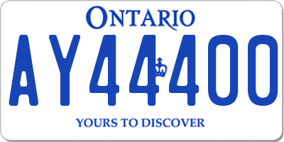 ON license plate AY44400