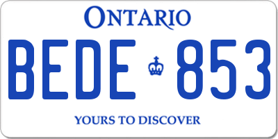 ON license plate BEDE853