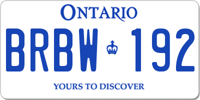 ON license plate BRBW192
