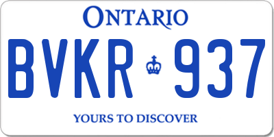 ON license plate BVKR937