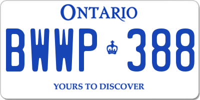 ON license plate BWWP388