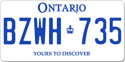 ON license plate BZWH735