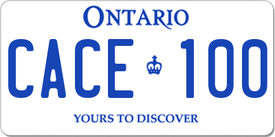 ON license plate CACE100