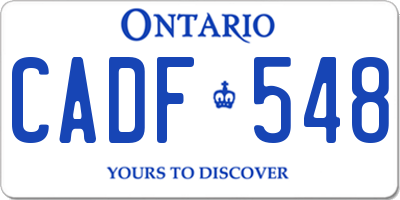 ON license plate CADF548