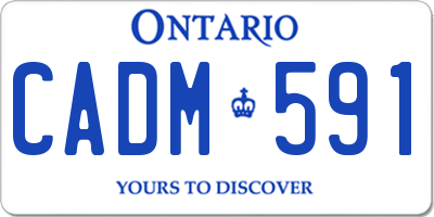 ON license plate CADM591