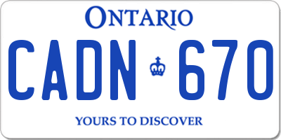 ON license plate CADN670