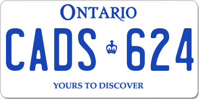 ON license plate CADS624