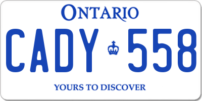 ON license plate CADY558