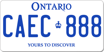 ON license plate CAEC888