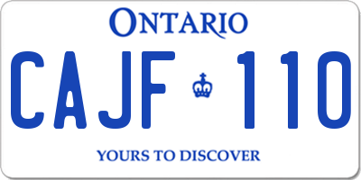 ON license plate CAJF110
