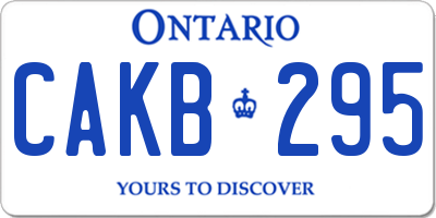 ON license plate CAKB295