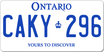 ON license plate CAKY296