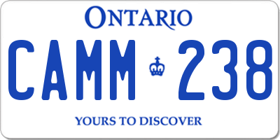 ON license plate CAMM238