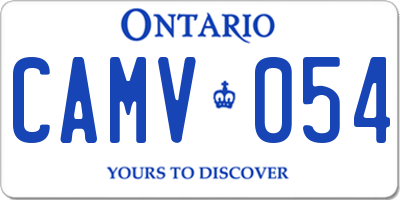 ON license plate CAMV054