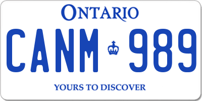 ON license plate CANM989