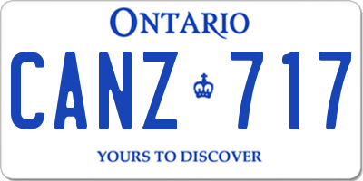 ON license plate CANZ717