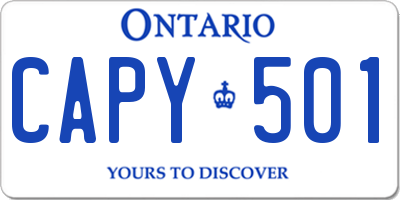 ON license plate CAPY501