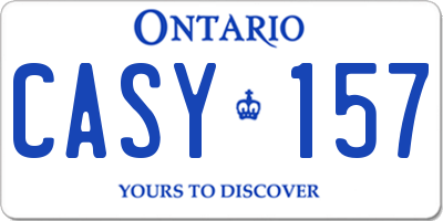 ON license plate CASY157