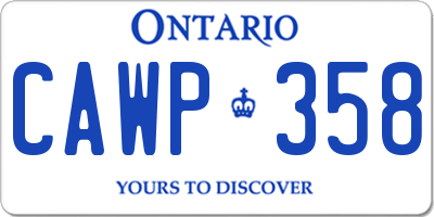 ON license plate CAWP358