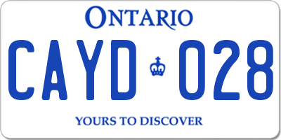 ON license plate CAYD028