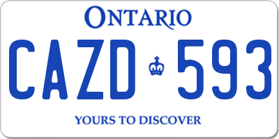 ON license plate CAZD593