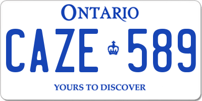 ON license plate CAZE589