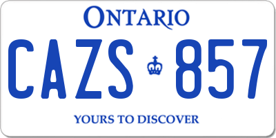 ON license plate CAZS857