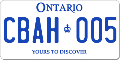 ON license plate CBAH005