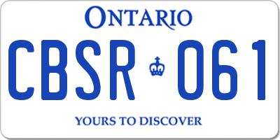 ON license plate CBSR061