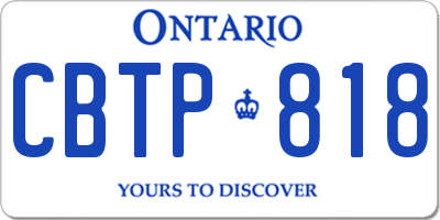 ON license plate CBTP818
