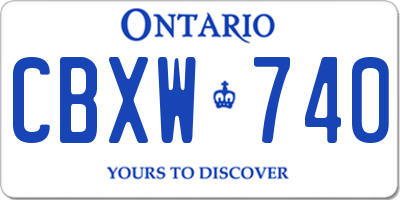 ON license plate CBXW740