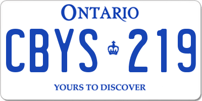 ON license plate CBYS219