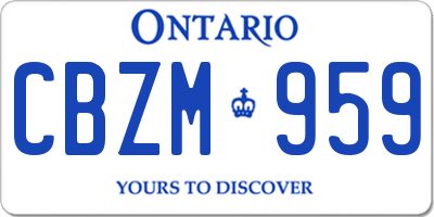 ON license plate CBZM959