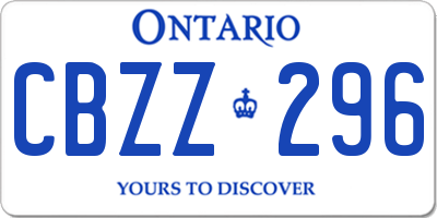ON license plate CBZZ296