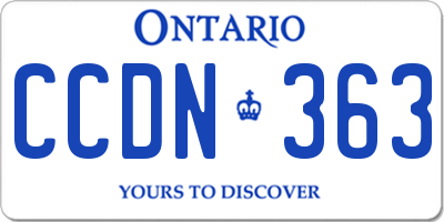 ON license plate CCDN363