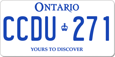 ON license plate CCDU271