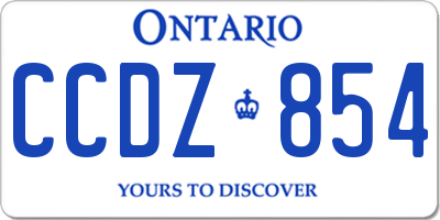 ON license plate CCDZ854