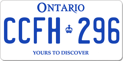 ON license plate CCFH296